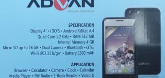 Advan S4P, Android Quad Core 4 Inci Support USB OTG Harga 500 Ribuan